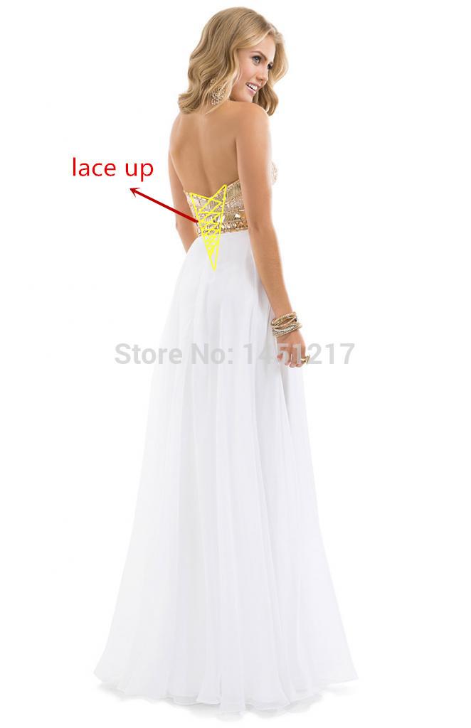Aliexpress.com: Compre Frete grátis 2014 Noble frisada querida Chiffon White Rose faísca vestido de noite para venda vestidos longos de baile de confiança vestidos vestir fornecedores em Forefront fashion