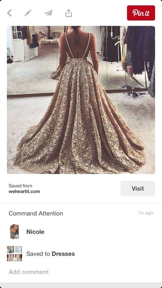 dress gold lace spaghetti strap open back open back dresses open back prom dress prom dress wedding dress long dress evening dress ball gown dress low back low back dress flowy flowy dress puffy puffy dress thin strapped