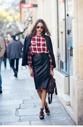 carolines mode blogger jacket shirt skirt shoes bag sunglasses