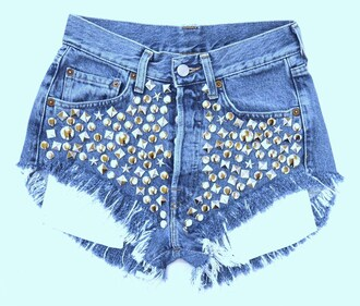 vintage denim shorts jeans levi high waisted shorts studs ripped ripped jeans
