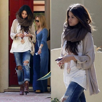 blouse selena gomez jeans scarf sweater bag shoes
