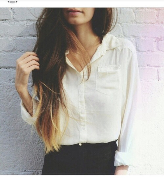 blouse white white blouse cute vintage trendy summer white shirt collared shirt linen shirt shirt ombre hair jeans girly hipster