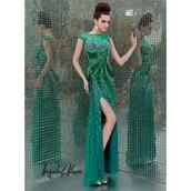 dress,prom dress,forest green,long dress