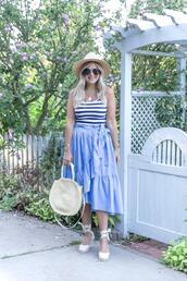 suburban faux-pas,blogger,hat,tank top,skirt,shoes,jewels,bag,wedges,espadrilles,blue skirt,straw bag,summer outfits,round bag