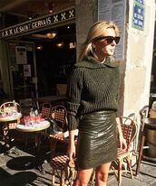 sweater,tumblr,green sweater,skirt,vinyl,mini skirt,green skirt,sunglasses,fall outfits,khaki,army green,olive green,sweater weather,knitted sweater,knitwear,heavy knit jumper,vinyl skirt