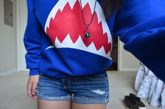 jacket shark sweater blue sweater blue sea shark hoodie blue hoodie unisex unisex hoodie hoodie sweatshirt