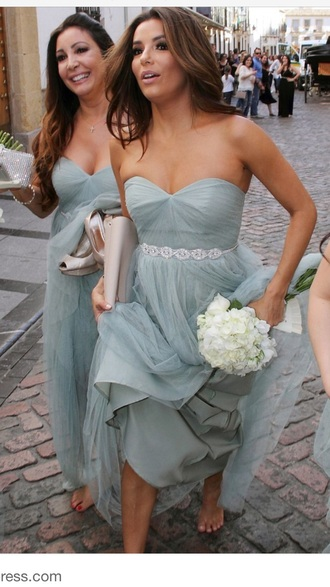 dress grey blue bridesmaid pastel pastel dress pastel blue wedding celebrity eva longoria bustier dress wedding clothes belted dress