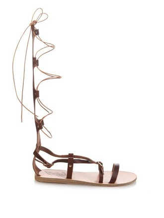 high sandals leather sandals lace leather brown shoes