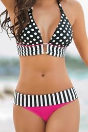 swimwear,bikini,white black and pink swim,black and white,polka dots,stripes
