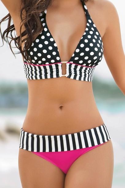 swimwear bikini white black and pink swim black and white polka dots stripes