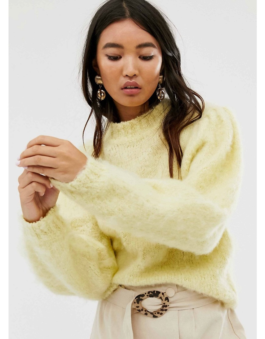 ASOS DESIGN fluffy jumper with volume sleeve