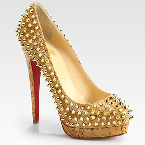 Studded Gold Heels