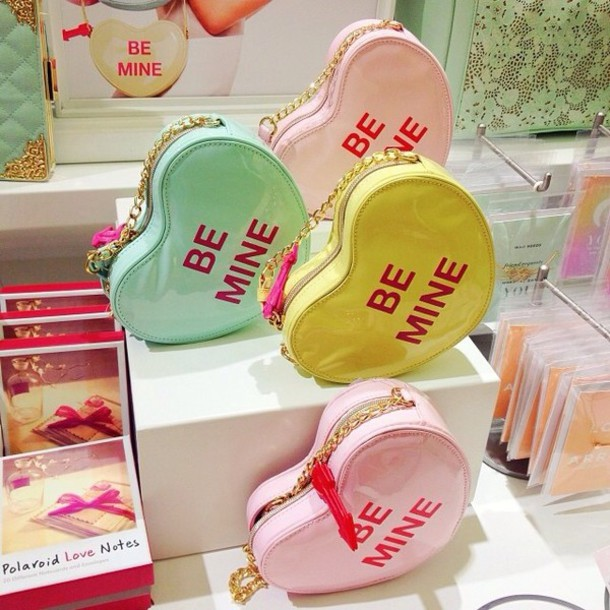 bag purse pink green yellow heart pink purse green purse yellow purse be mine candy valentines valentines day