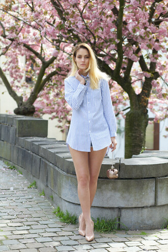 from brussels with love blogger shirt bag jewels long sleeves button up stripes t-shirt dress