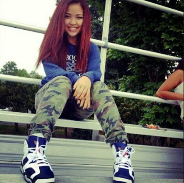 smile cute dope swag red hair straight hair sweater camouflage camo pants pants shoes carmine 6s socks