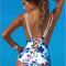 Floral print lace up back swimsuit