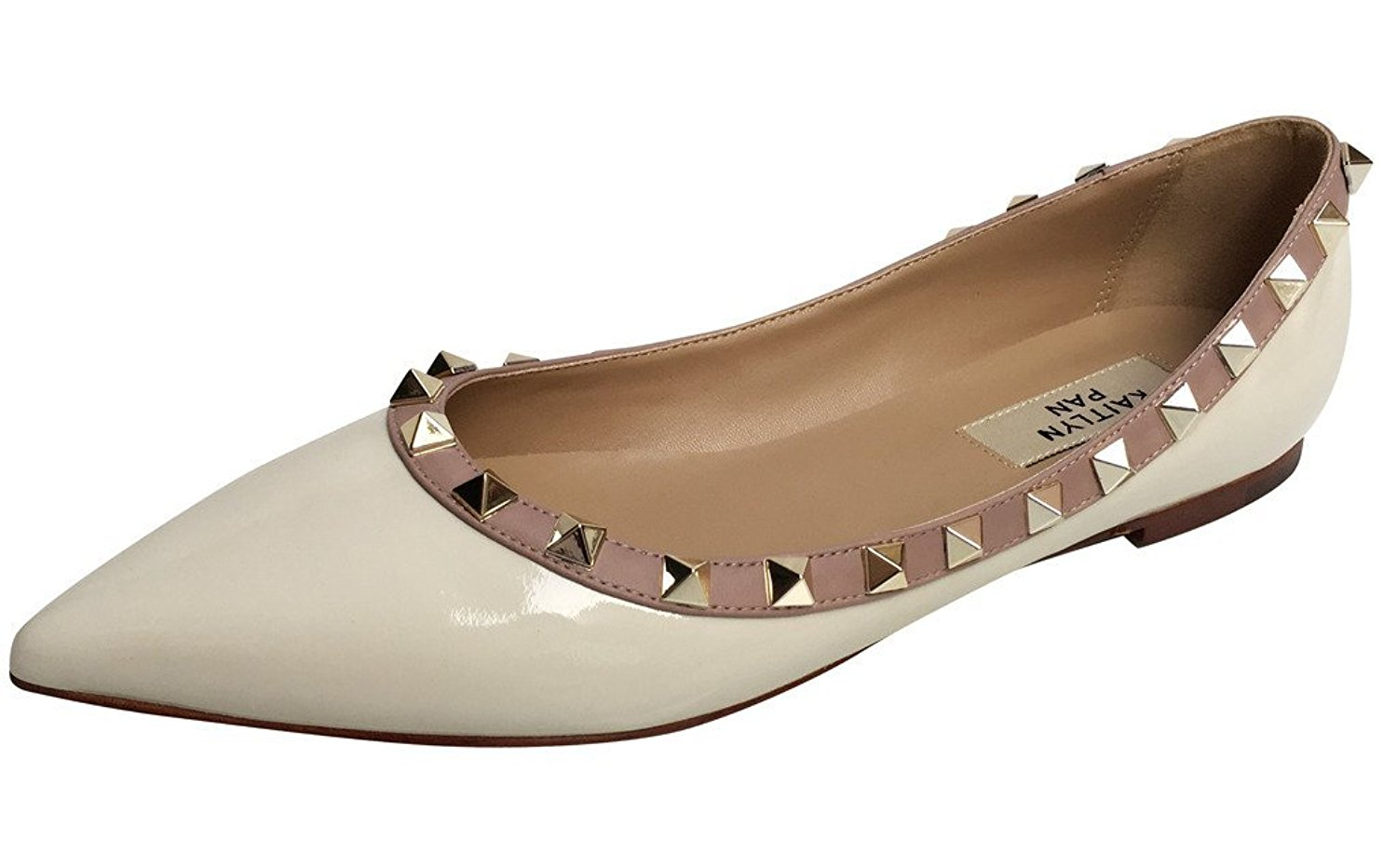 Amazon.com | Kaitlyn Pan Pointed Toe Studded Ballerina Leather Flats | Flats