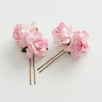 hair accessory pastel pink roses rose pink rose pink roses hair clip hipster wedding prom beauty