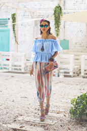 macademian girl,blogger,top,bag,sunglasses,jewels,off the shoulder,mirrored sunglasses,colorful
