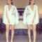 Hot cute new white short-sleeved embroidery lace backless joker conjoined dress