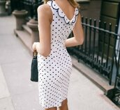 dress,tumblr,midi dress,white dress,polka dots,sleeveless,sleeveless dress,bodycon dress,date outfit