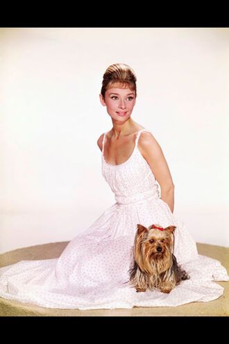 dress audrey hepburn actress maxi dress white dress summer dress polka dots polka dots dress hairstyles