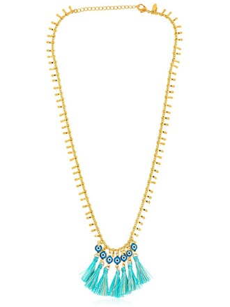 tassel necklace gold blue jewels