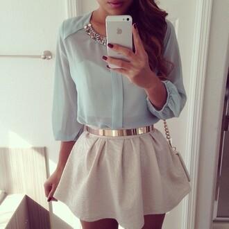 skirt pastel silver gold blouse skater skirt metallic gloves belt bag