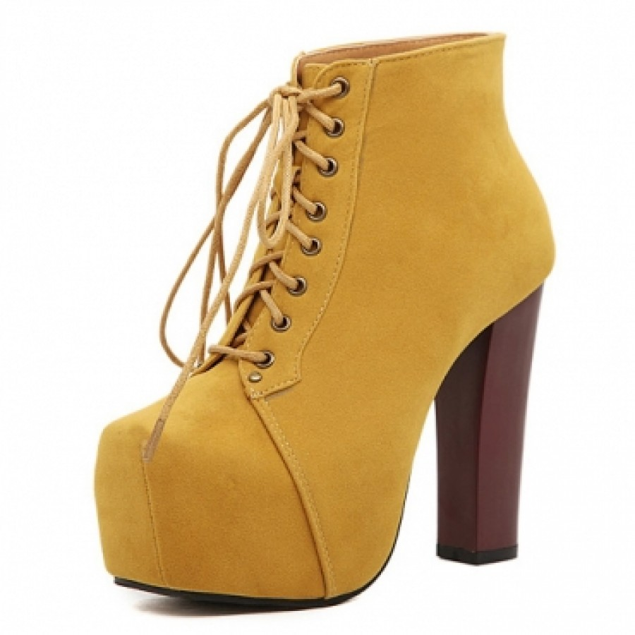 Yellow High Heel Boots - Is Heel