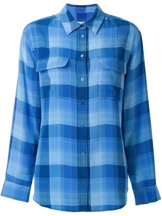 shirt checked shirt blue top