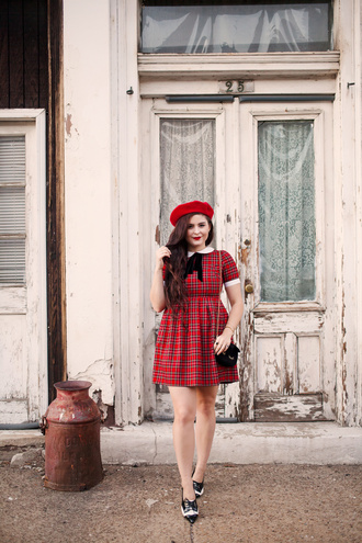 noelles favorite things blogger red dress tartan dress beret