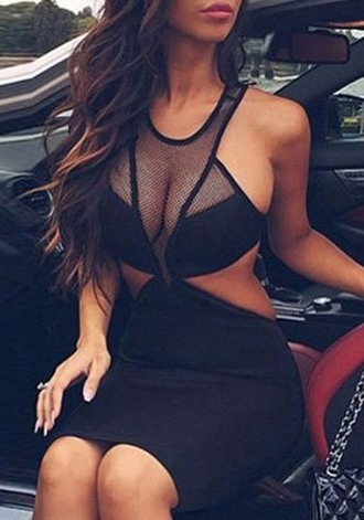 dress women see-through pierced sleeveless bodycon dress black dress see through dress sexy dress sleeveless dress pierced dress party girl bodycon dress
