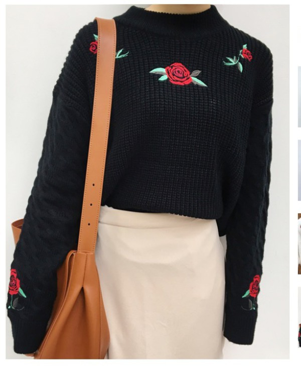 sweater embroidered girly black jumper roses knit