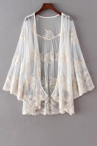 cardigan lace white romantic girly summer trendy kimono