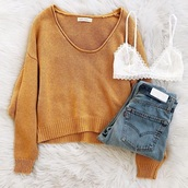 sweater,mustard,yellow,soft,cute,sweater weather,school outfit,trendy,teenagers