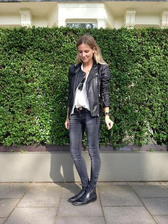 jacket leather jacket black jacket streetstyle jeans biker