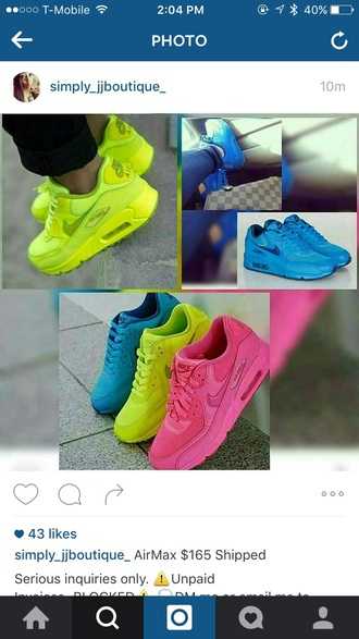 shoes neon air max blue pink green nike air max 90