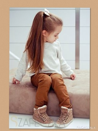 hair accessory pants top kids fashion ponytail jeans sweater shoes