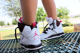 shoes hi tops air jordan white pink high top sneakers nike black trainers jordan perfect girl swag jordans