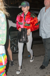 jacket,bomber jacket,miley cyrus,leggings,converse,weed,colorful,bag,chuck taylor all stars,shoes