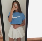 nike crop top,rolled sleeves,sky blue,skater skirt,tank top,skirt,top,blouse,dress,tennis skirt,t-shirt,crop tops,white skirt,shirt,white skirt short,nike sweater,white,nike blue shirt,blue shirt,checkmark,checkmark blue shirt,blue checkmark shirt,style,nike,summer top,summer,cute shirt,fsshion,high waisted,americanapparel,blue,sportswear,light blue,nike blue,logo,logo clothing,nike tshirt,cute,sitemodel,pastelblue,kawaii,classy,simpson t-shirt,biker style,biker skirt,sporty,nike sportwear,women sport suit,women sportwear,nike t shirt,plaid skirt,iphone,tick,crewneck,outfit,cropped tee,love,fashion,pastel blue nike top,blue top,white t-shirt,white top,white skater skirt,girly,nikes,white crop tops,shoes,black dress,grunge,cropped,baby blue,just do it