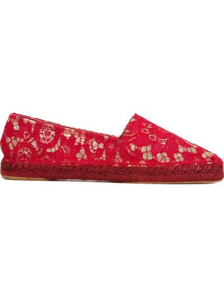 Dolce & Gabbana women espadrilles lace leather cotton red shoes