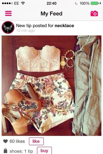 shorts crop tops floral festival coachella lace white tank top