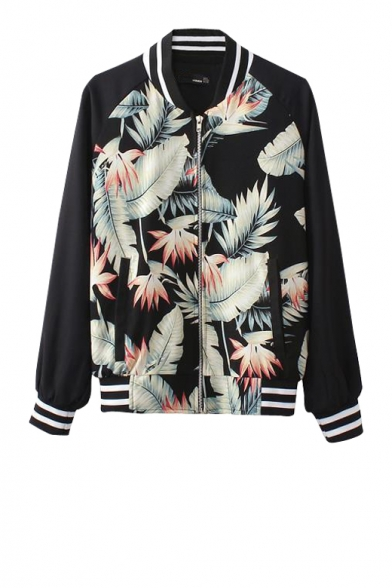 Foliage print zip fly bomber jacket with stripe print trim