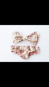 swimwear,floral,bows,bow,pink,vintage,bikini top