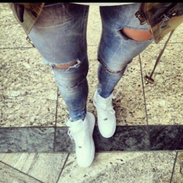 Pretty White Ripped Jeans - Shop for Pretty White Ripped Jeans on