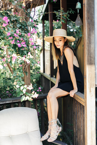 dress sandals hat jamie chung blogger summer outfits summer dress shoes