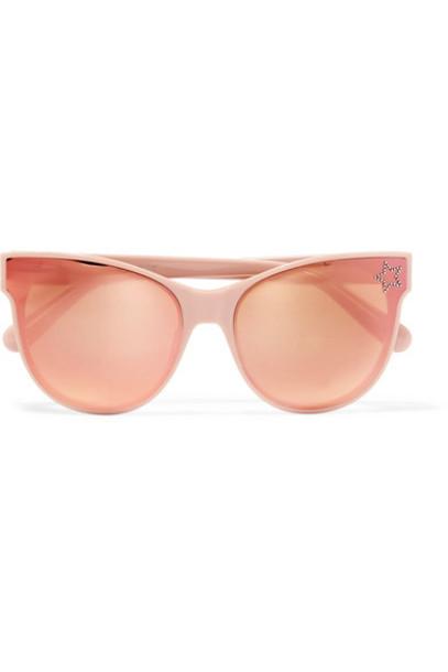 Stella McCartney embellished sunglasses mirrored sunglasses pink