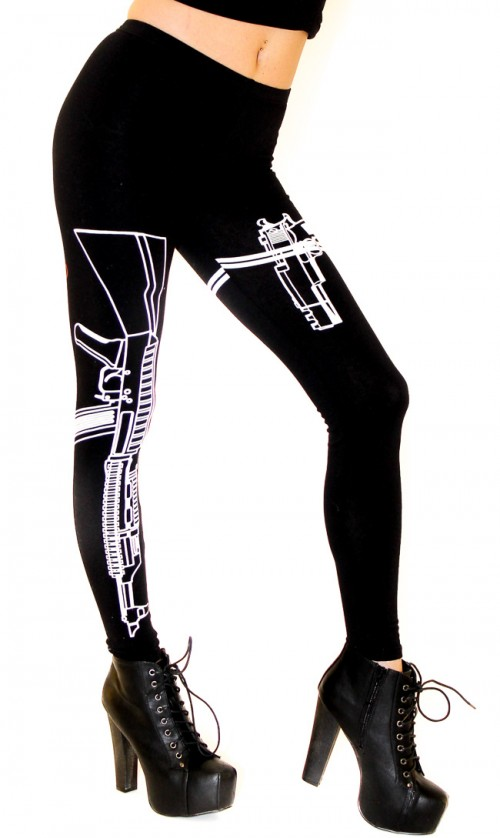 Guns Out Machine Gun Leggings in Black