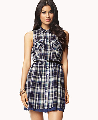 Fit & flare plaid dress